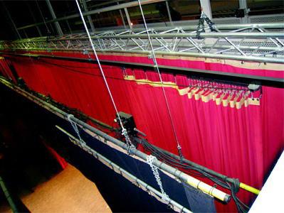 elevacion de telones de teatros con poleas y mecanica teatral